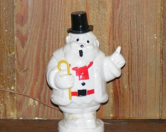 Vintage Mid Century Plastic White Harett Gilmar Santa Claus Bank with Top Hat Pipe and Cane light lighted Decoration lite works