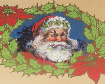 Antique Christmas Litho Santa Claus in Wreath Paper Label NOS
