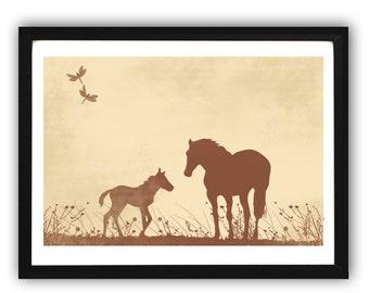 Horses Silhouette  -  Kids Art Prints, Horse art, nursery decorating ideas, nursery horse illustration, family, foal