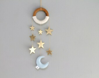 Moon and Star Mini Dreamer, Modern Nursery Dreamer Wall Mobile Decor, Moon and Metallic Gold Stars, Handmade by OrdinaryMommy on Etsy