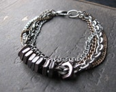 Scrappy No. 3 - Mixed Metal Bracelet - Unisex Design with Geometric Beads and Mixed Metals