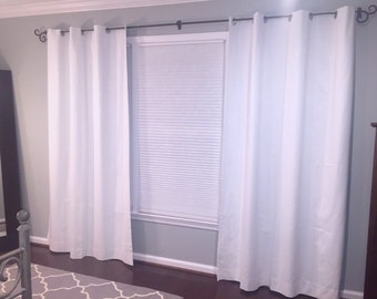 """White Window Curtains 64"""", 84"""", 96"""" and Up Window Panels - Blackout Available"""