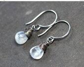 On Sale Moonstone Earrings Antiqued Silver Wire Wapped Moonstone Jewelry Rustic Jewelry White Earrings