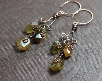 Tourmaline Chandelier Earrings Green Gemstone Faceted Nugget Earrings Rustic Jewelry Copper Rose Gold Earrings