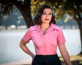 Pink cotton poplin 1940s style short sleeve cotton blouse S to XL Ready to Ship