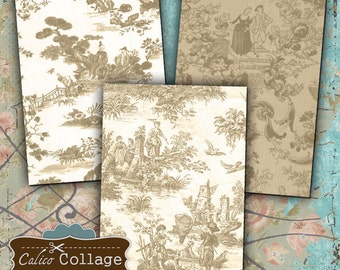 Vintage Tan Toile Digital Collage Sheet Printable Download Gift Tags Mini Cards Vintage Download Decoupage Paper Scrapbook Jewelry Holder