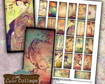 Oriental Ephemera, 1x2 Domino Tile Size, Collage Sheet, 1x2 Inch Size Images for Pendants Bezel Trays Magnets Scrapbook Paper Craft