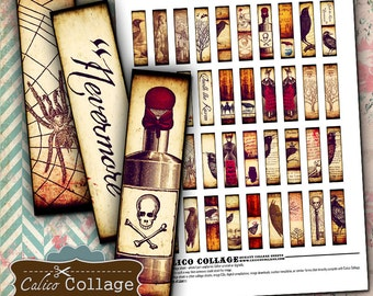 Gothic .5x2 Digital Collage Sheet Half Domino Images for Bezel Settings, Jewelry, Pendants, Resin, Decoupage Paper, Craft Paper Scrapbooking
