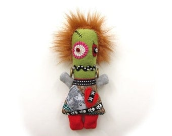 Felicity Frankenstein  - a handmade Frankenstein's daughter doll