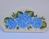 Hand Painted Wooden Key Holder Plaque with Blue Hydrangeas