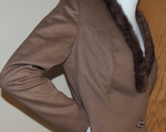 Betty Rose Mink trimmed Suit Jacket S to M