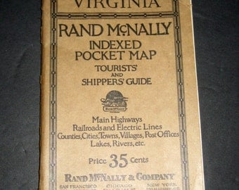Vintage (1928) Virginia Rand McNally Indexed Pocket Map of Virginia - Tourists and Shippers Guide