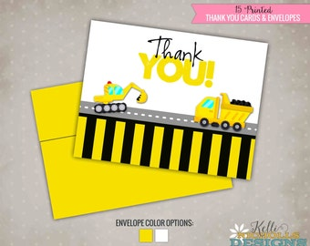 Boy's Birthday Construction Thank You Cards, Dump Truck Thank You Notes, Backhoe #B107