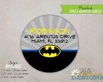 Personalized Batman Superhero Circle Return Address Label, Custom Stickers #B105