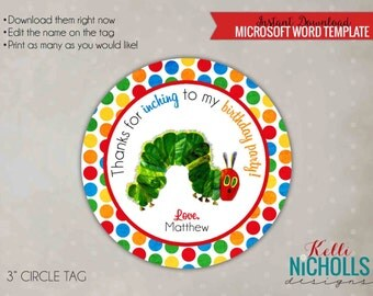 Very Hungry Caterpillar Circle Favor Tags, Custom Children's Birthday Party, Instant Download #B104