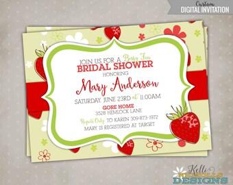 Custom Strawberry Berry Bridal Shower Invite, Wedding Shower Invitation #S121