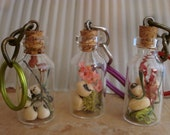 Little bottles of LUCK and LOVE.  Black Eyed Peas and Real dried Flowers, moss, grass, herbs, seeds, plants, unisex, keychain, beans, south