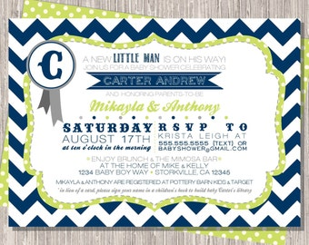 Baby Boy Shower Invite, Navy Green Baby Boy Shower Invitation 5x7 printable design