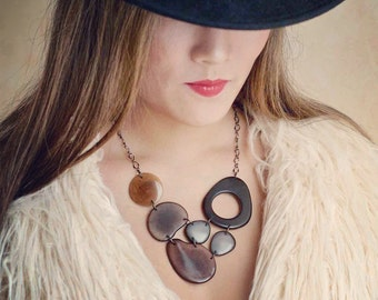 Neutral colored bib necklace