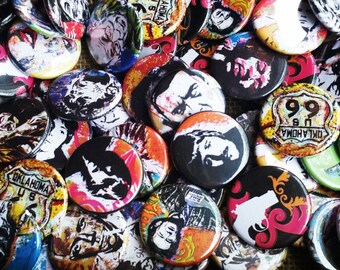 """Assorted 1.25""""  Pin Back Buttons  - Pack of 5 or 10  - Pop art punk rock music art unique art button rock n roll pin back"""