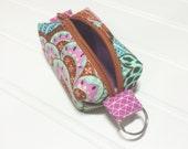 Tiny boxy bag keychain pouch - Paisley