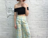 Valentine SALE 70s bell bottoms / pastel plaid bellbottom pants / wide leg flares