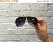 Valentine SALE aviator sunglasses / vintage aviator sunglasses / 80s sunglasses / gold aviators