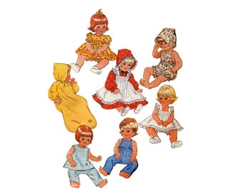 """1970s Baby Doll Clothes Pattern Play Clothes Overalls Party Dress Sunsuit Wardrobe McCalls 6366 Medium 15"""" to 17"""" Vintage Sewing Pattern"""