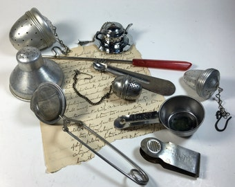 Lot vintage kitchen utensils tea strainers