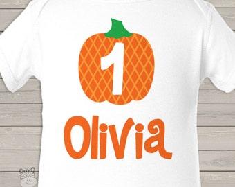 first 1st birthday pumpkin fall party t-shirt or bodysuit BGPAAPT