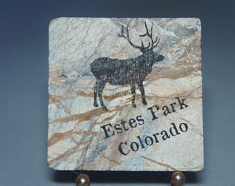 Natural Stone Coaster, 4inx4in, Estes Park, Colorado. Elk