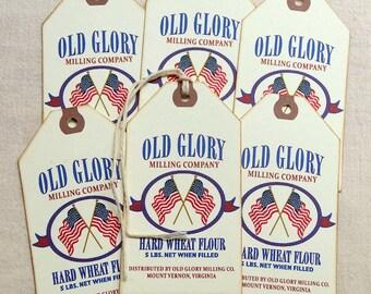 Patriotic Flag Flour Feedsack Gift or Scrapbook Tags  #1225