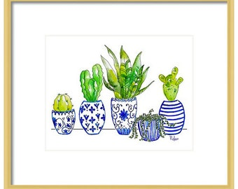 Watercolor Blue Chinoiserie Art Print, Giclee, Blue Chinoiserie Wall Art, Cactus Art Print, Blue and White Art, Blue and White Vases