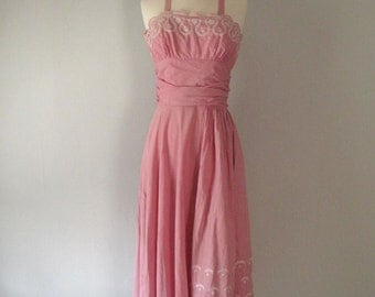 Vintage 1950s Halter Dress - Cotton - Pink - Embroidery - 50s Dress