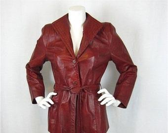 50% Off Sale Vintage 70s Oxblood Leather Jacket, Sz M