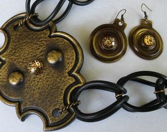 HARDWARE JEWELRY Repurposed Hardware n Gaskets,Rubber Jewelry,Mr T Vintage Brass Backing Plate O Rings,SteampunkJewelry,Industrial Jewelry
