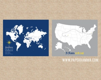 USA Poster Map, World Map Poster, Travel Maps Poster, Custom World Map Poster,  Interactive Map, Canvas Pushpin Map // H-I22-2PS AA4