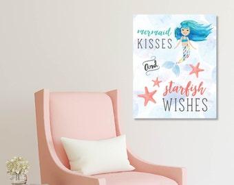Mermaid Wall Art, Girl Wall Art, Girl Bedroom Art, Nursery Prints, Baby Girl Nursery, Watercolor Wall Art, Baby Nursery // N-XM03-1PS AA1