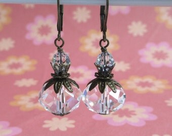 Victorian Clear Glass Earrings, Swarovski Crystal, Leverback Dangle Earrings, Vintage Style, Rustic Wedding Jewelry