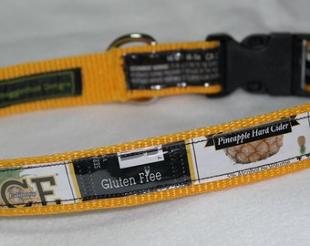 Adjustable Dog Collar from recycled Ace Pineapple Hard Cider Labels