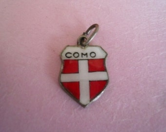 Vintage Travel Shield Sterling Silver Charm Enamel Charm Collectible Charm