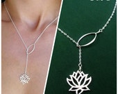 Lotus necklace, lariat necklace, Yoga Jewelry, Sterling Silver, y drop, Bridesmaid Gift, waterlily necklace, lotus lariat, lotus jewelry