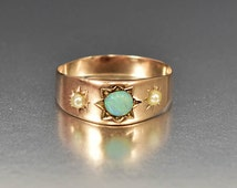 Antique Opal Ring, Rose Gold Wedding Band Victorian Ring, Pearl Ring, Engraved Star Wide Band Ring, Antique Ring, Opal Stacking Ring