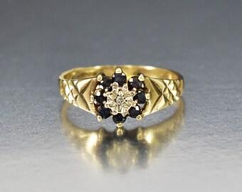Sapphire Ring, Diamond Engagement Ring, Gold Sapphire Engagement Wedding Band Ring, Diamond Ring, Victorian Ring Style, Alternative Wedding
