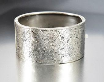 Antique Sterling Silver Bracelet, Flower Leaf Engraved Bracelet, Victorian Revival Wide Bracelet, England Art Deco Bangle, Hinged Bracelet