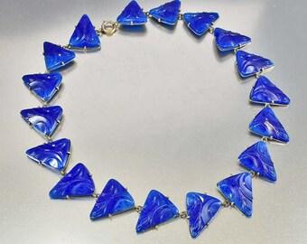 Vintage Czech Glass Art Deco Necklace, Lapis Lazuli Molded Glass, 1920s Art Deco Jewelry, Antique Jewelry