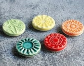 colorful magnets, set of 5 handmade porcelain