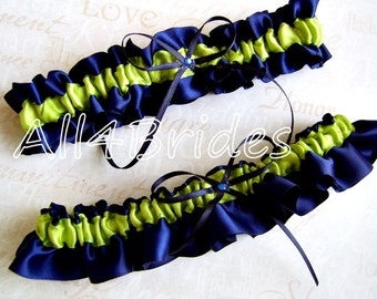 Navy Blue and Green Wedding Colors, Bridal Keepsake and Toss Garter Set, Bridal Accessories