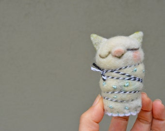 Needle Felted Cat Mummy Ready to Ship OOAK