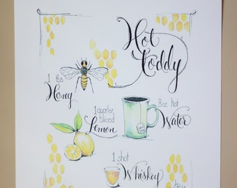 Hot Toddy Art Print • Recipe • Watercolor Illustration • Kitchen Wall Art • Decor